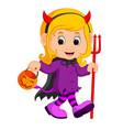 cute devil girl cartoon vector image