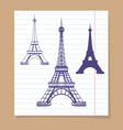 eiffel towers set on linear page vector image