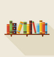 Flat Bookshelf Reading Books with Shadow vector image