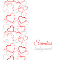 Grunge color hearts Border seamless pattern vector image