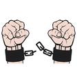 hand broken chains vector image
