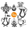 Hand Drawn Retro Tea Set vector image