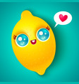 kawaii lemon on bright background vector image