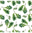 Oak leaf and acorn watercolor seamless pattern vector image