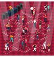 People Dancing Movements Isometric Flowchart vector image