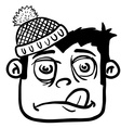 simple black and white boy with winter hat vector image