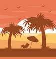 two palm trees chair umbrella silhouette on sunset vector image