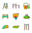 children playground icons set cartoon style vector image