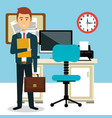 businessman in the office avatar character icon vector image