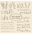 Hand sketched vintage floral elements vector image