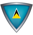 steel shield with flag saint lucia vector image vector image