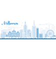 Melbourne Skyline with Blue Buildings vector image