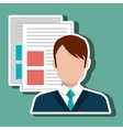 person with text files isolated icon design vector image