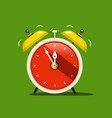 alarm clock flat design icon on green background vector image