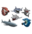 Angry grey white and hammerhead sharks cartoon vector image