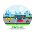 city street traffic flat circle vector image
