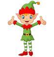 Cute green elf boy costume hands up vector image