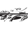 Passenger and cargo transportation scene vector image