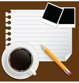 Blank book with coffee and photo frame on bu vector image vector image