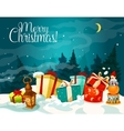 Christmas gift box with winter landscape poster vector image