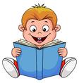 A cartoon boy reading a book vector image vector image