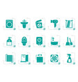 stylized bathroom and toilet objects and icons vector image vector image