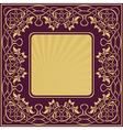 Gold vintage frame with floral ornamental border vector image