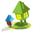 small lodge looks at big house vector image