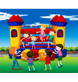 Kids bouncing on the playhouse vector image