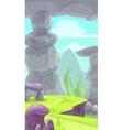 Cartoon rocky prehistoric landscape vector image