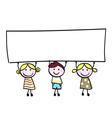 Children holding banner vector image