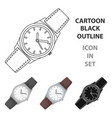 classic wrist watch icon in cartoon style isolated vector image