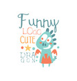 funny cute dragon logo baby shop label fashion vector image