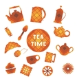 Set of 16 icons Tea time In square vector image