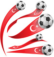 turkey flag set with soccer ball vector image