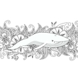 Coloring page with whale in the sea on flower vector image