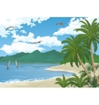 Sea Landscape with Palms and Surfers vector image