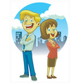 man and women crossing hand vector image vector image