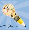 education concept lamp pencil cartoon style vector image