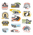 road highway turn of freeway crossroad icon set vector image vector image