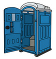 blue opened mobile toilet vector image