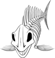 silhouette skeleton fish vector image vector image