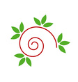 Abstract drawing of a cute snail with green leaves vector image vector image