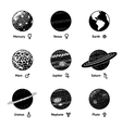 Set of monochrome planet icons with names and vector image