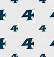 number four icon sign Seamless pattern with vector image