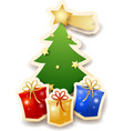 christmas tree with gifts on white background vector image