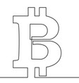continuous line drawing of bitcoin sign vector image