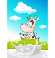 cute cow sitting on green grass with milk splash - vector image
