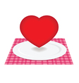 Heart on plate vector image