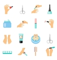 Manicure And Pedicure Flat Icons Set vector image